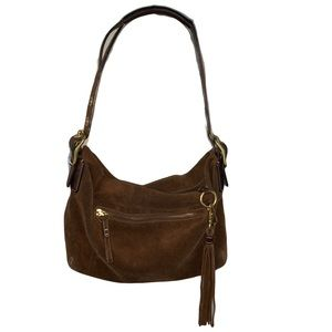 Coach east west brown suede shoulder bag